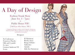 A Day of Design Trunk Show  NYC June 1st Public House