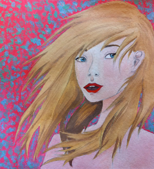 Here is a recent piece by K in Art 20…the background colours make me think that spring is coming at last! Yay!
