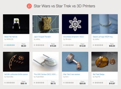 Star Trek vs Star Wars vs 3D Printers Science fiction becomes reality at Shapeways with on demand 3D printed products.