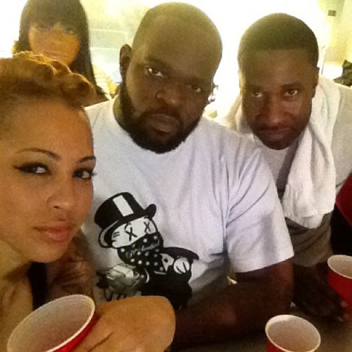 "Me , @msgizellemarie, @nyanimal, & @ransom at ""BOOM"" video shoot the other day we killed it !!!  Shoutout to @7linemanagement cuz At the top its just fxck ni99as #MTV shxt !! #lol"