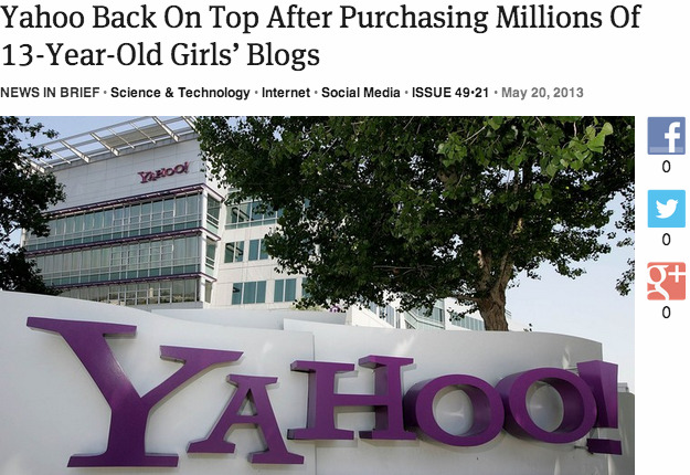 theonion:  Yahoo Back On Top After Purchasing Millions Of 13-Year-Old Girls' Blogs: Full Report