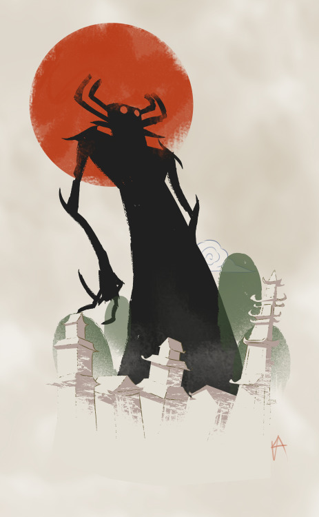 retroheavy:  aku illustration I did.  Aku! X Foolish Samurai!