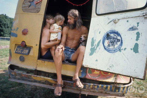 the60sbazaar:  Hippie family in the back of their van at Woodstock