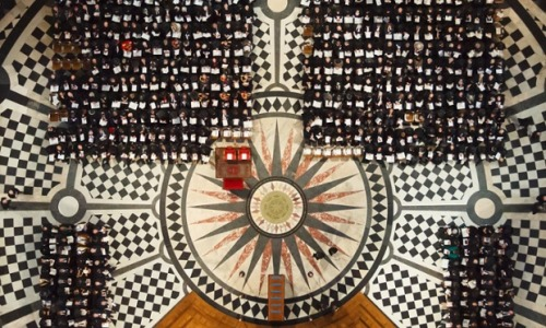An overhead view of the Cathedral interior showing the special seats and rug for the Queen and Price Philip in the front row and the empty plinth awaiting the coffin. From picture desk live: the best pictures from Lady Thatcher's funeral Photograph: WPA Pool/Getty Images