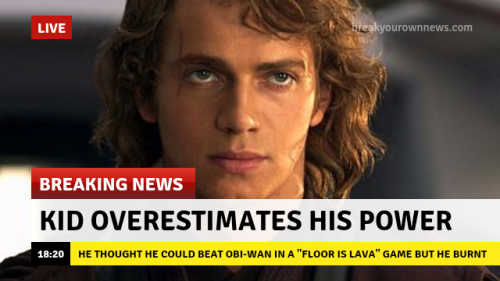 star wars breaking news Revenge of the Sith Anakin Skywalker sw sw edit idk i had to i'm so sorry but