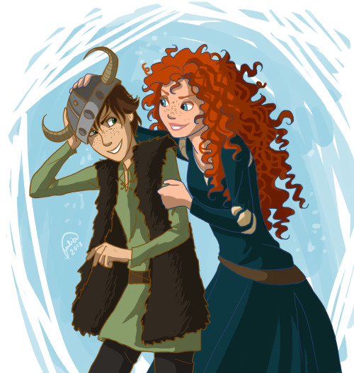 juliajm15:  Anon asked for Merida and Hiccup xD Finally a break on all the PJ stuff