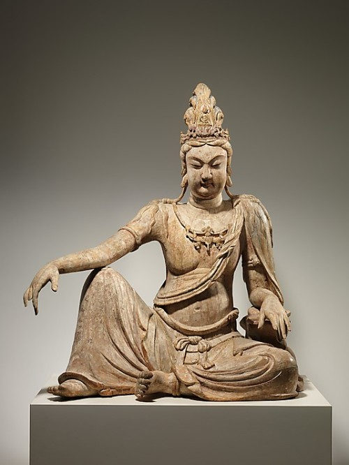 "soulhospital:  Bodhisattva Avalokiteshvara in ""Water Moon"" Form (Shuiyue Guanyin) - Liao Dynasty, China, 11th century. Chinese Art - Wood (willow) with traces of pigment; multiple-woodblock construction, 46.5 x 37.5 inches. Permanent Collection of the Metropolitan Museum of Art, New York City. (Experienced this in person, April 2013)"