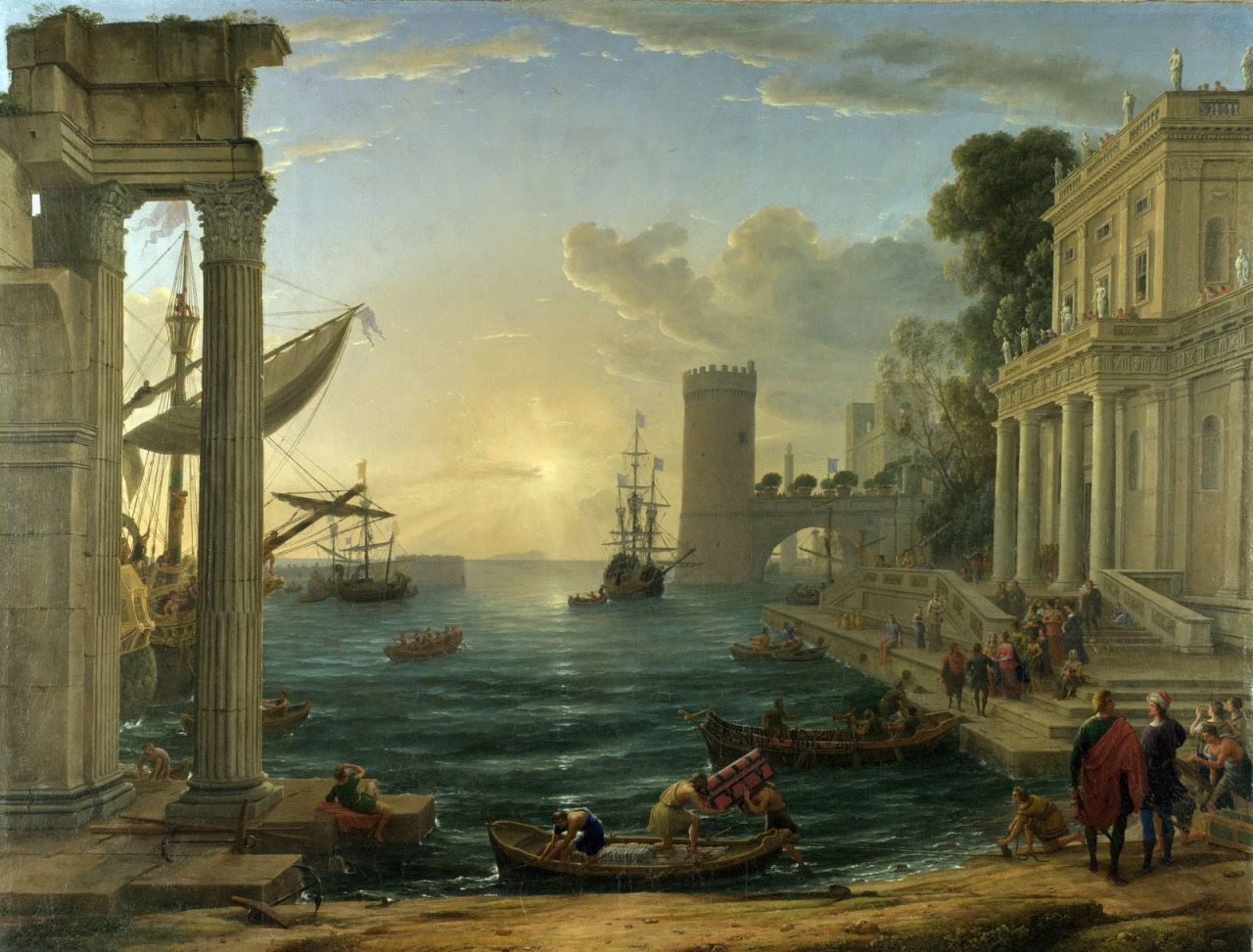 forthememoryofepicurus:  The Embarkation of the Queen of Sheba (ca. 1648) by Claude Lorrain
