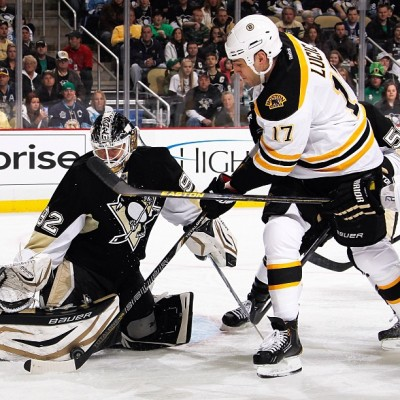 Lucic tries to put a shot past Vokoun in this afternoon's game vs PIT #nhlbruins