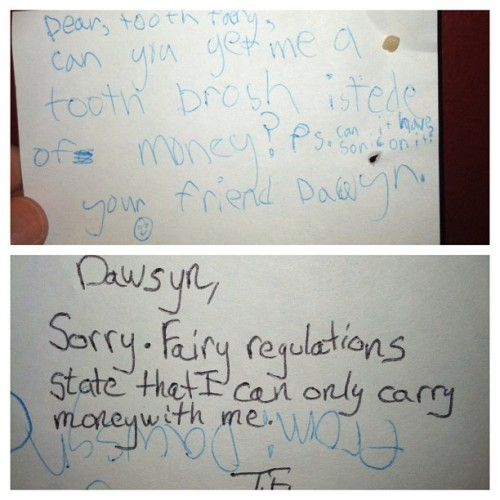Not sure when my kids decided they could make requests of the Tooth Fairy, but it keeps happening.