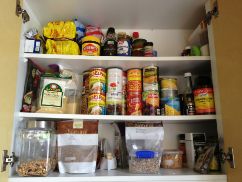 Did some cleaning and veganised the cupboard. The noodles are my husbands. Everything non vegan was given away to friends and family that eat it so nothing was wasted. Feels good. I'm in need of a cheap healthy granola recipe and some ideas on what to do with all the canned corn I found. We are going away for new year so the fridge is empty.