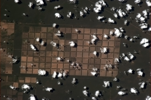 colchrishadfield:  Those are some absurdly geometric Brazilian farms.