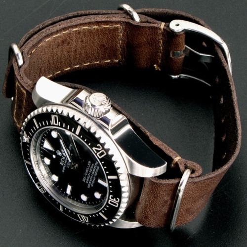 justthedesign:  The Rolex Sea-Dweller Deepsea X Watch With Leather Nato Gunny Straps