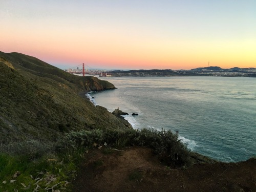 The San Francisco Bay, Golden Gate Bridge, and San Francisco itself bask in the dusk light as viewed from the Marin Headland's trails.Photo: Bryon Powell