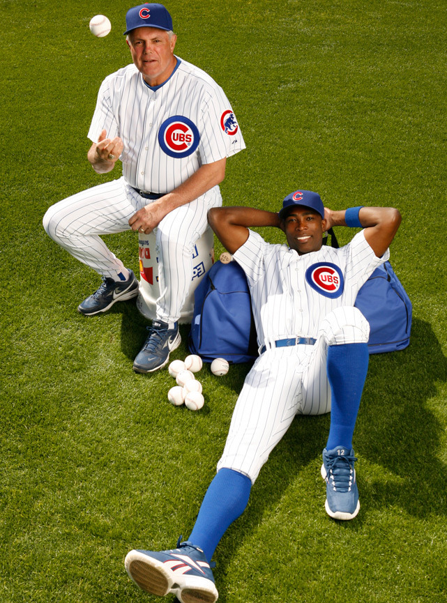 Cubs manager Lou Piniella and outfielder Alfonso Soriano pose for the 2007 SI Baseball Preview issue. (Robert Beck/SI)
