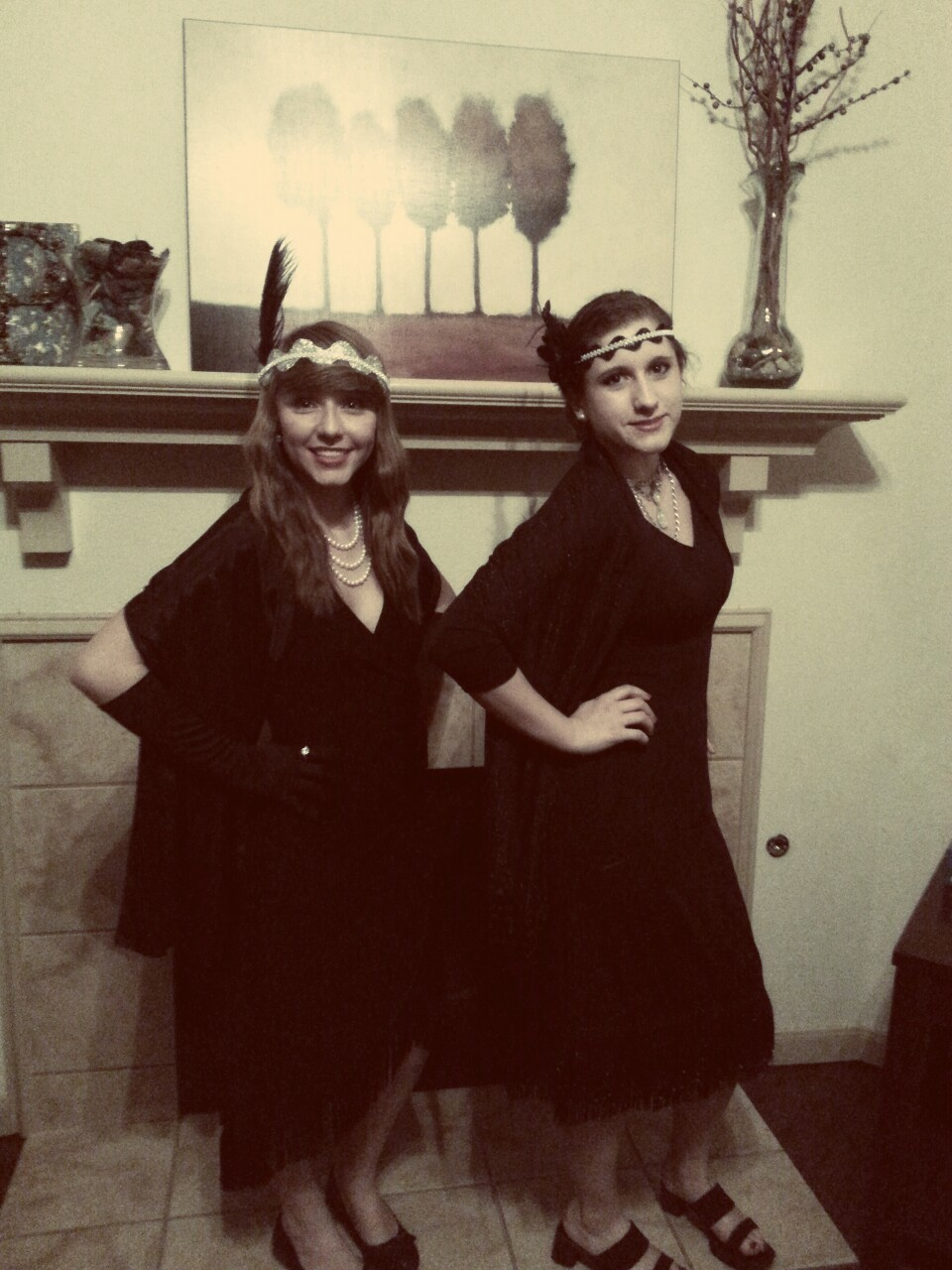 Handmade flapper costumes for the Great Gatsby midnight showing last night!