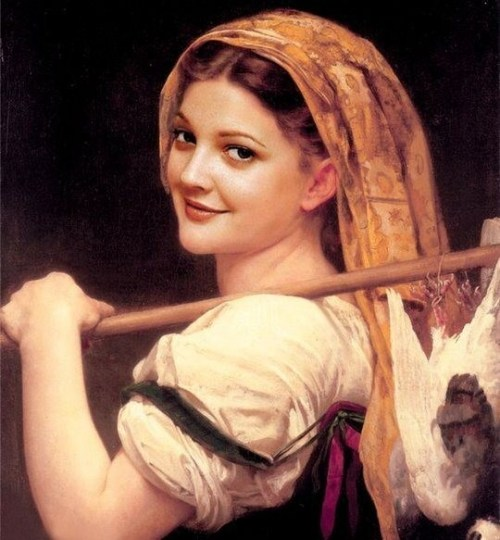 Celebrities in the Renaissance: Drew Barrymore.Now where is she hiding her snuff box?
