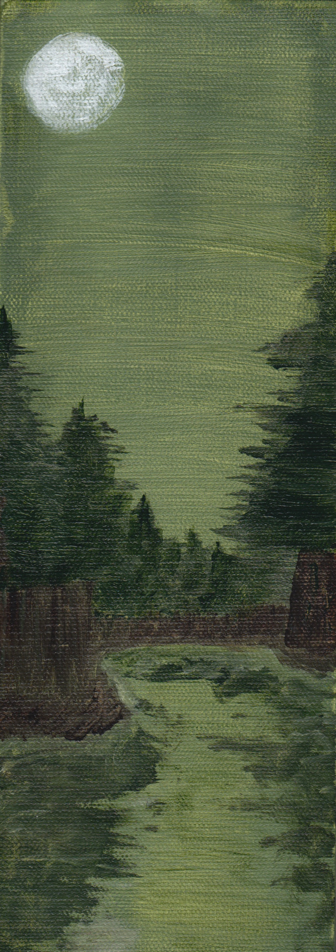 "Green Night - 4""x12"" - acrylic  I only used 3 colors of paint: van dyke brown, sap green hue, and titanium white."