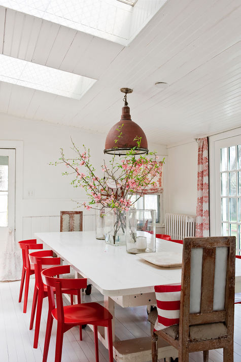 myidealhome:  red chairs (via Design*Sponge)