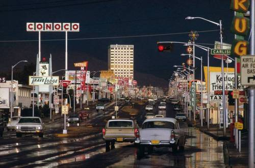 steroge:  Route 66, Albuquerque, New Mexico 1969 by Ernst Haas