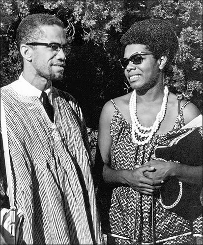 "peakblackness:  MALCOLM AND MAYA Circa 1964 Ghana, where Maya had been living since 1962. ""Many years earlier I, or rather someone very like me and certainly related to me, had been taken from Africa by force. This second leave-taking would not be so onerous, for now I knew my people had never completely left Africa. We had sung it in our blues, shouted it in our gospel and danced the continent in our breakdowns. As we carried it to Philadelphia, Boston and Birmingham we had changed its color, modified its rhythms, yet it was Africa which rode in the bulges of our high calves, shook in our protruding behinds and crackled in our wide open laughter. I could nearly hear the old ones chuckling."" -from All God's Children Need Traveling Shoes, which chronicles Angelou's time in the West African country"