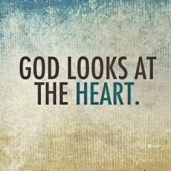 "spiritualinspiration:  ""…The Lord does not look at the things man looks at. Man looks at the outward appearance, but the Lord looks at the heart"" (1 Samuel 16:7, NIV).  When the Lord looks at your heart, what does He see? Every one of us has an outer life and an inner life. The outer life is our public life that the people around us see. The inner life is made up of our thoughts, attitudes, and motives. Only you and God know what's going on inside of you.  Too many people go around today pretending—acting one way, yet on the inside they're thinking something totally different. Their heart and their actions don't line up. But we have to understand that God is looking on the inside. We can fool a lot of people, but we can't fool God. He would rather us be open and honest than go through life pretending.  Take inventory of what's going on inside of you today. Are you at peace? Are you overlooking offenses? Do you believe the best in people? Do your heart and actions line up? If not, ask the Lord to give you an undivided heart. Be determined to stay true in your mind and your actions. Line up your whole being with His Word so that you can be pleasing to Him all the days of your life!"