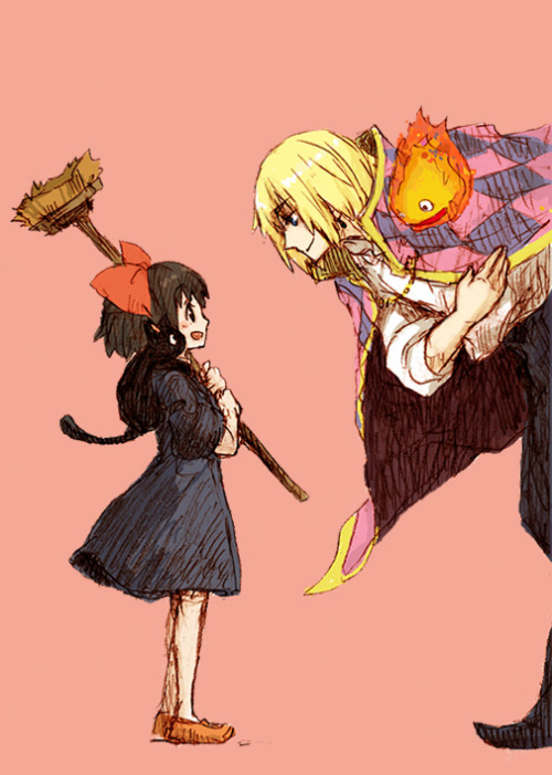 ask-jubileena-bingbing:  japanaway:  (via calcifer, howl, jiji (majo no takkyuubin), and kiki (howl no ugoku shiro, majo no takkyuubin, and studio ghibli) drawn by suguru (tobiume) - Danbooru)  Dude I would pass out like you do not even know