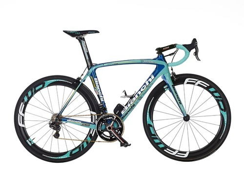 "Vacansoleil-DCM's bike for 2013, the Bianchi Oltre. The blue and ""celeste"" tones of the Dutch sponsor and Italian brand merge better on the bike compared to the previous edition which had black and white on the frame too. Look closely and you can see they have switched to Campagnolo components for 2013. But this doesn't appear to be full sponsorship as there's an FSA crank and brakes, FFWD wheels and Look Pedals, as well as a gold chain that doesn't come from the Vincenza manufacturer. Surely the most mixed choice of components in the pro peloton and it suggests the team doesn't have full sponsorship but is buying some of these parts although typically this is done at very good rates direct from the distributor as the team will show off the products on the roads soon."