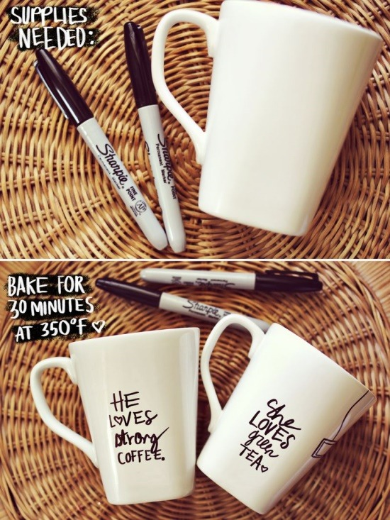 wildwithwhimsy:  Sharpie on Ceramic A sharpie (any color) + A porcelain dish(You can even use super cheap mugs from the dollar store!) Just draw and bake it for 30 minutes at 350 degrees. Allow them to cool completely before washing or using.