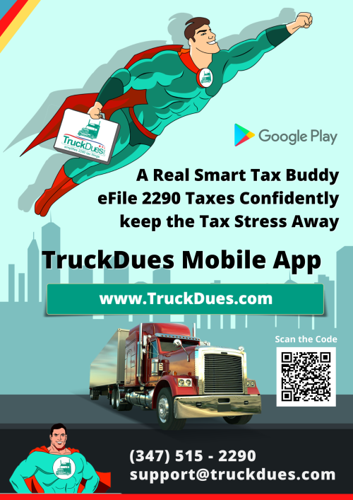 @truckdues Android Mobile App further simplifies 2290 electronic filing needs, helps you report and pay #2290 #TruckTaxes with the IRS and receive Schedule 1 receipt instantly.TruckDues Android Mobile App, a real Smart Tax Buddy!eFile 2290 Taxes Confidently and keep the Tax Stress Away. #Forrm 2290 #Form 2290 efile  #form 2290 online  #form 2290 electronic filing  #form 2290 prefile  #2290 tax efile  #2290 tax online  #2290 tax efiling  #2290 tax prefile  #truckdues.com  #truck tax dues