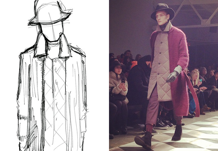 giltman:  Fashion Week Sketches: Robert Geller The latest from John Jannuzzi expounds on the virtues of wearing knits on the outside of your outerwear.