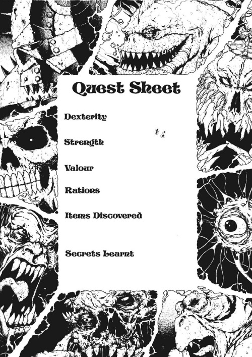 """Quest Sheet"" from PROTEUS 10 - The Triad of Evil. Gary Harrod, 1987. All char sheets should be this metal…"