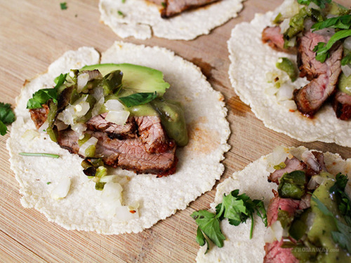 fattributes:  Chipotle Flank Steak Tacos with Salsa Verde
