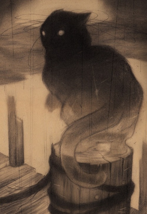 fletchingarrows:  art-and-fury:  The Docks - Sam Wolfe Connelly  demon cat of the piers
