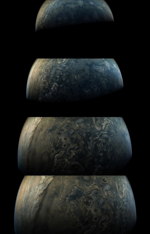 """cosmicvastness: Perijove Passage On May 19, the Juno spacecraft once again swung by Jupiter in its looping 53 day orbit around the Solar System's ruling gas giant. Beginning at the top, this vertical 14 frame sequence of enhanced-color JunoCam images follows the spacecraft's rapidly changing perspective during its two hour passage. They look down on Jupiter's north polar region, equatorial, and south polar region (bottom images). With the field-of-view shrinking, the seventh and eighth images in the sequence are close-up. Taken only 4 minutes apart above Jupiter's equator they were captured just before the spacecraft reached perijove 6, its closest approach to Jupiter on this orbit. Final images in the sequence pick up white oval storm systems, Jupiter's """"String of Pearls"""", and the south polar region from the outward bound spacecraft.Credit:  NASA, Juno, SwRI, MSSS, Gerald Eichstadt, Sean Doran"""
