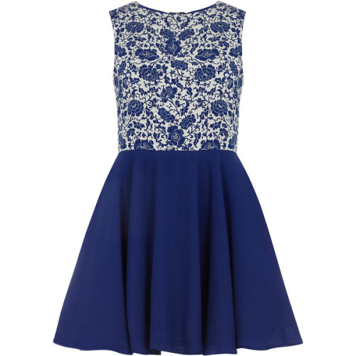 Blue floral prom skater dress   ❤ liked on Polyvore (see more cotton floral dresses)