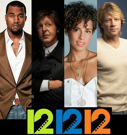 "Tonight is the night for the 121212 Concert for Hurricane Sandy Relief! The concert will feature top recording artists, Kanye West, Paul McCartney, Alicia Keys, Jon Bon Jovi etc. Starting at 7:30 p.m. ET, on December 12, ""12-12-12,"" The Concert for Sandy Relief, will be broadcast live from Madison Square Garden via a global network of US and International television stations, Clear Channel radio stations and leading web sites."