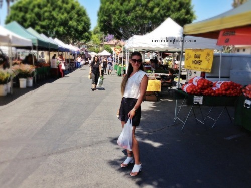 West Hollywood Farmers Market at Plummer Park - I'm so happy to get this time to spend with my lovely and stylish friend, Anna, on this beautiful slow Monday. This is our go-to farmers market on Mondays in our hood. There's a mix of organic and non-organic vendors, food stands for tamales, organic vegan Korean nosh, rotisserie chicken, French baguettes and pastries, cheese gourmand, seafood & fish, and Greek food. As for the style guru, Anna's got on her Phillip Lim top, Opening Ceremony shorts, and Givenchy sandals.  http://m.yelp.com/biz/west-hollywood-farmers-market-west-hollywood ⭐⭐⭐