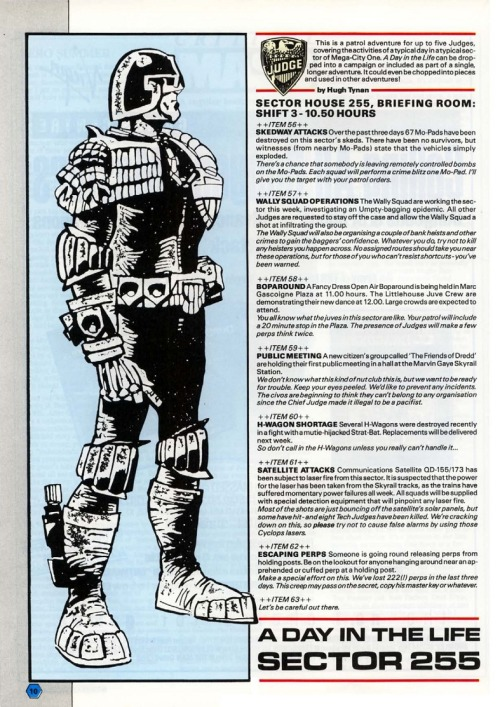 From A Day in the Life of Sector 255, scenario for Judge Dredd the Roleplaying Game from White Dwarf 83, November 1986. Carl Critchlow, 1986.
