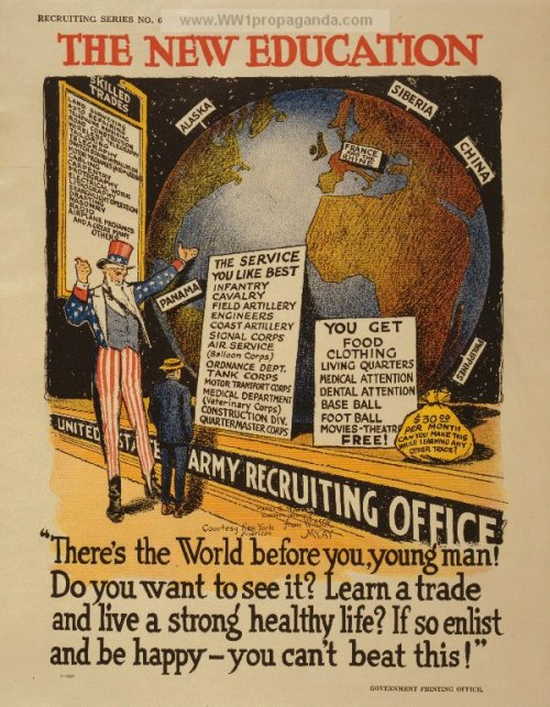 intothebeautifulnew:  The New Education - World War I recruitment poster.   What I love about this is that they have Siberia marked as a desirable spot.  And you can get baseball and football free!