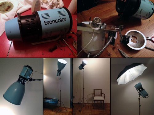 Converting my Classic Broncolor into a Funky Floor Lamp. After removing the guts of the strobe and properly disposing of the battery cells (contact your local recycling centre on how to safely dispose of them) I reassembled the chassis. Two screws, a few yards of copper wire and 3 circuit boards that look like something from a sci-fi movie were the only things left over. I then removed a standard light mount from a pot light I bought at the hardware store. With a pair of tin snips was able to expand the original mount that held the flash tube and mount the new light socket in it's place. I then fed a power cord with switch through the back plate where the original power cord was fed and attached it to the light socket with a pair of marrets. It all remains nicely hidden inside the chassis. Besides the aesthetics of it (it really does look like a rocket booster) this is one of the most functional and versatile lamps you could ask for. I can place a variety of reflectors, umbrellas, grids, softboxes onto the mount to create an endless variety of lighting scenarios in the living room. Now I just need to break the habit of flipping the original model light toggle switch on the back when attempting to turn it on and off.