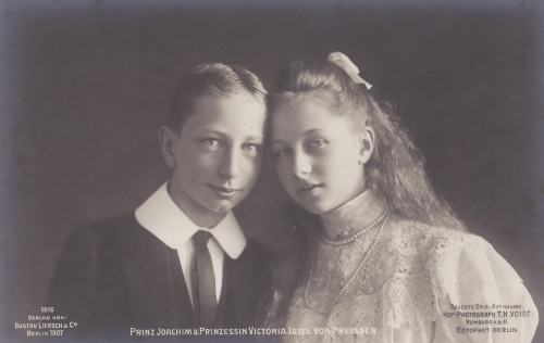 The youngest children of Kaiser Wilhelm II and Kaiserin Augusta Viktoria: Prince Joachim and Princess Viktoria Luise of Prussia.