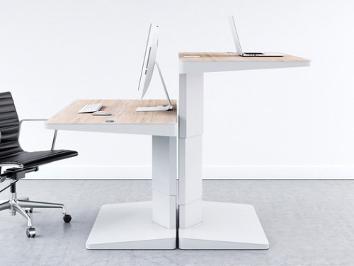 Awesome office solution for the sit / stand desk set-up. Would love to have something like this in the studio.