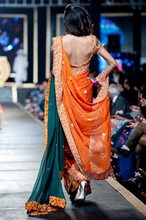 Sarees n Blouses / Beautiful Green & Saffron Sari on @weheartit.com - http://whrt.it/17nYzRi