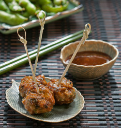 Scallion Meatballs with Soy-Ginger Glaze by stickygooeychef on Flickr.