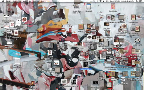 My desktop looks like my room. All that art and not enough space!