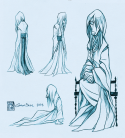 Clothing concept sketches - Nineve Trying to come up with some garments for Nineve. She's a blind chinese oracke and Chazaqiel's adoptive daughter. Something loose and sort of 'depressed' looking would do.