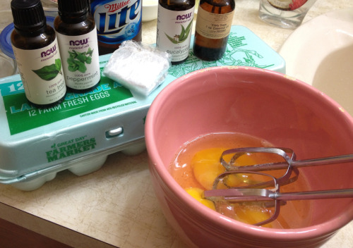 Dry Itchy Scalp Hair Soak Beer, Coconut oil, Egg yolks, Clary sage, Peppermint, Tea tree, Eucalyptus globulus, Shower cap. Rub in hair good, rinse hands, put on shower cap, and soak in a hot tub of water with sea salt, essential oils, candles, tunes, and more. <3 I poured the excess mixture into my bath and it made my skin so silky smooth.