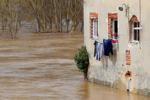 fotojournalismus:  A man looks at floodwaters surrounding his home in Puente Duero, province of Valladolid, on April 1, 2013.  [Credit : Cesar Manso/AFP/Getty Images]