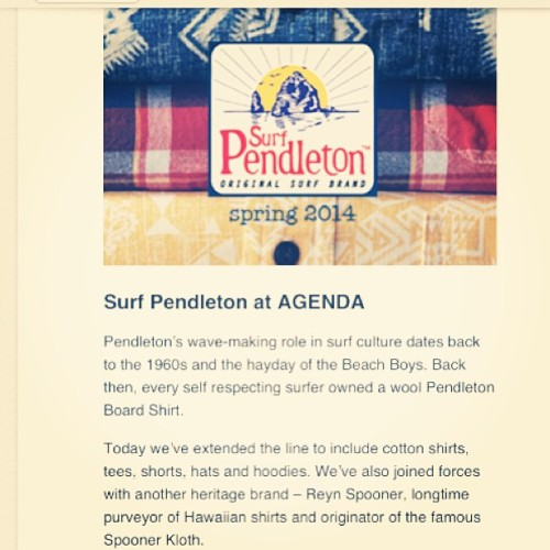 Today at @agendashow Surf Pendleton debuts - come say hello in booth G22!
